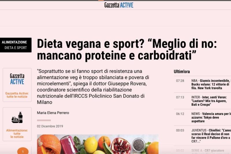 """Gazzetta dello Sport - Dieta vegana e sport? """"Meglio di no: è troppo povera di proteine"""""""